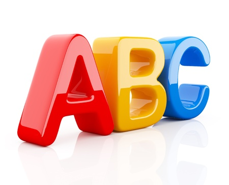 vocabulary: Colorful toy symbols heap  of alphabet. Icon  3D.  Education concept. Isolated