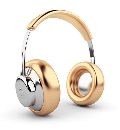 casque audio: Casque d'or 3D. Ic�ne. Isol� sur fond blanc Banque d'images