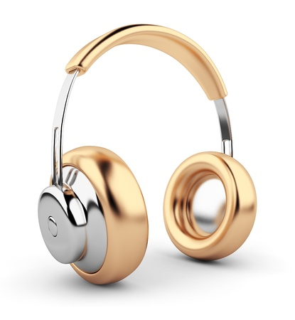 computer dancing: Golden headphones 3D. Icon. Isolated on white background