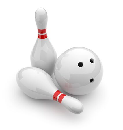 skittles: Bowling 3D. Sport concept. Isolated on white background Stock Photo
