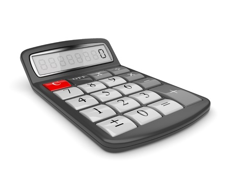 calculate: Black calculator 3D. Mathematics object. Isolated on white background Stock Photo