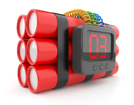 detonate: Bomb with clock timer 3D. Countdown. Icon isolated on white  Stock Photo