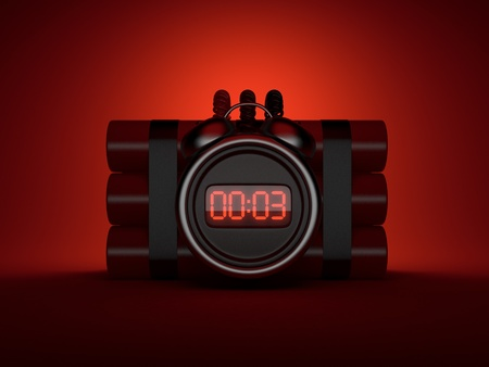 explosion risk: Bomb with clock timer 3D. Countdown. On red background