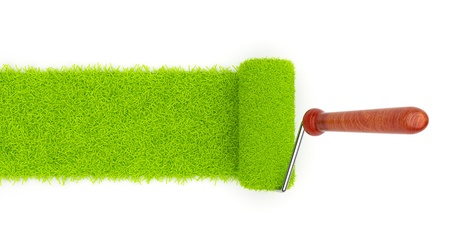 recolor: Green paint of grass. Roller isolated on white background. 3D illustration Stock Photo