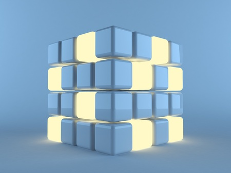 abstact: illuminated cubes  on blue background. 3d illustration