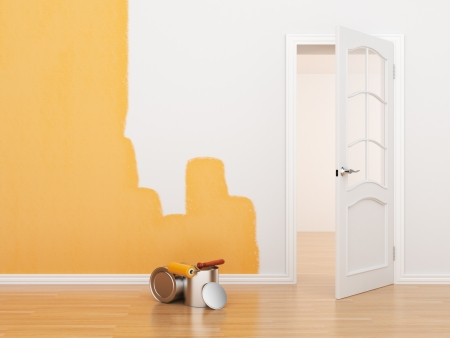 home repair: Painting of an empty room. Renovation house. 3D illustration