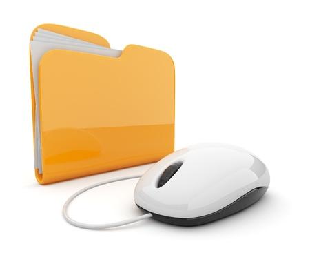 carpetas: Rat�n del ordenador y la carpeta de color amarillo. Ilustraci�n 3D aislado en blanco