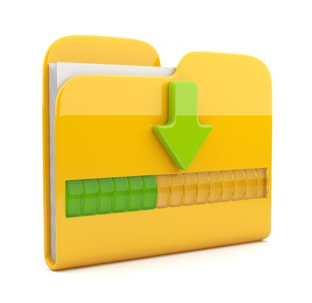 downloading: Yellow folder 3D icon. Date downloading concept. Isolated on white  Stock Photo
