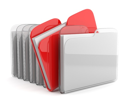 dir: Row of folders and files. 3D illustration isolated on white background