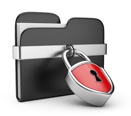 Concept de sécurité des données. Dossier noir et de verrouillage. 3D isolé sur blanc