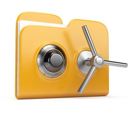Concetto di sicurezza dei dati. Cartella gialla e serratura. 3D isolato su bianco