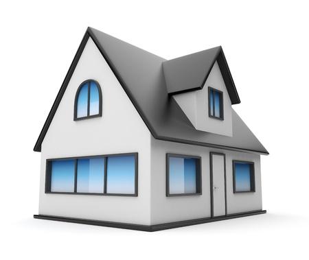 case moderne: Piccola casa. Icona 3D. Isolato su sfondo bianco