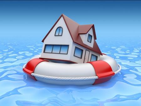 property insurance: Casa en salvavidas. Propiedad concepto de seguro
