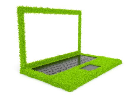 powerbook: Green computer laptop of grass 3D. Isolated on white background