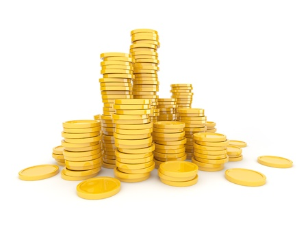 heap of dollar: Gold coins  3D. Isolated on white background