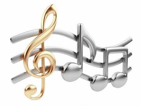 금속 음악 노트 3D 음악 작곡은 흰색 배경에 고립