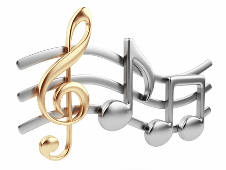 instrumentos musicales: Composici�n met�lica nota musical en 3D M�sica Aislado sobre fondo blanco Foto de archivo
