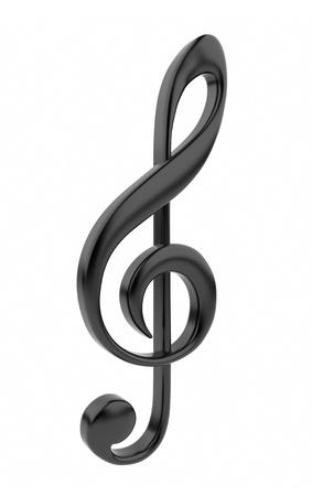 musical note: Nero musical 3D icona della nota isolato su sfondo bianco Archivio Fotografico