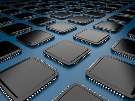 microcircuit: Computer microchip CPU 3D  Stock Photo