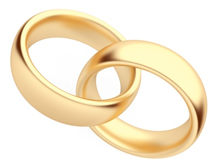 rings: Wedding gold ring 3d  Isolated Stock Photo