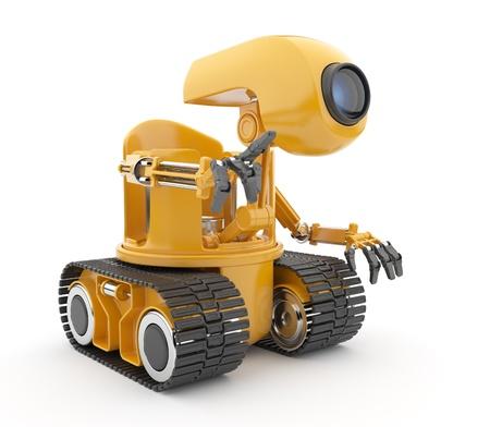 talking robot: Discusi�n del robot futurista concepto de inteligencia artificial en 3D aislado en blanco Foto de archivo