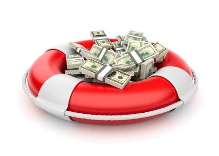 De dólares en rescate salvavidas 3D del dinero aislado en blanco