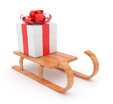 Gift on wooden sled   Christmas concept  3D illustration isolated on white background Stock Illustration - 12956895