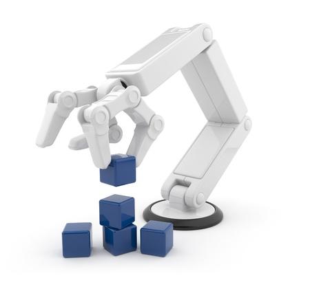 mano robotica: La mano robótica reunir información de inteligencia artificial cubo 3d aislado sobre fondo blanco