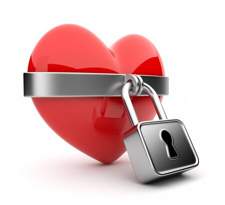 Closed valentine heart and lock 3D  Isolated on white background photo