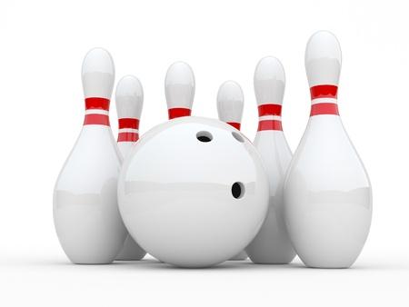 skittles: Bowling  3D illustration on white background