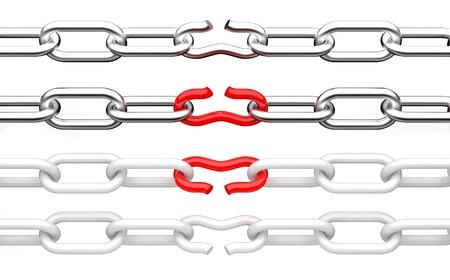 cadena rota: Ilustración 3d roto la cadena de aislados en fondo blanco