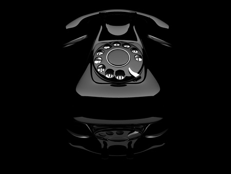 old telephone: Telephone 3D old, color black  3d illustration on white background
