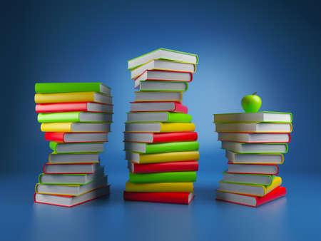 Books. 3d Illustration on a dark blue background illustration