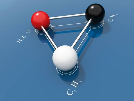Chemical formula 3D. On a blue background photo