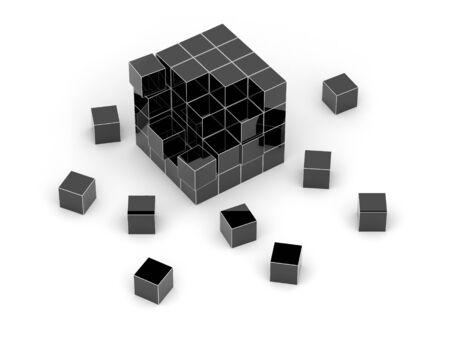 disorganization: Black cube 3D. Isolated. Stock Photo