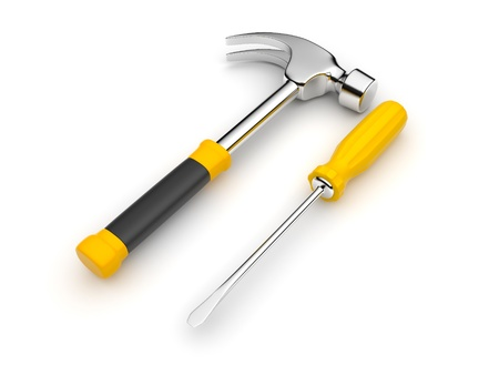 screwdrivers: Work tool. 3D an illustration on a white background