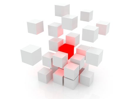 red cube: White cube 3D. Isolated. Kernel