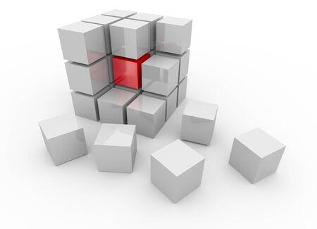 disorganization: White cube 3D. Isolated. Kernel