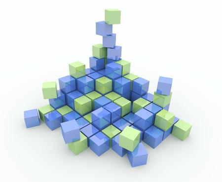 disorganization: Heap of cubes on a white background. Explosion, destruction