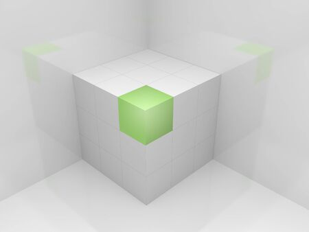 The white three-dimensional cube, costs in a corner Stock Photo - 13031965