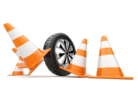 auto accident: Automobile wheel has collided cones. 3d isolated