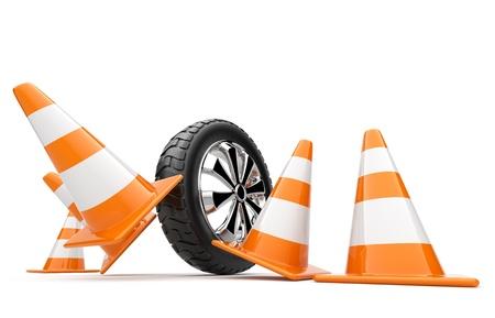 accident rate: La rueda del autom�vil ha chocado conos. 3d aislado