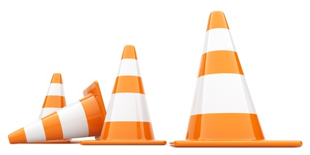 traffic cone: Traffic Cones. 3D illustration. Isolated, on white background