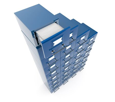 Filing cabinet isolated over white background photo