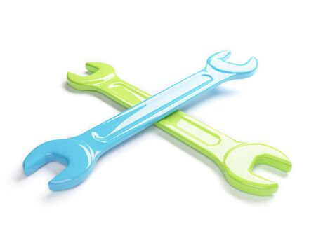 Spanners on a white background. 3D photo