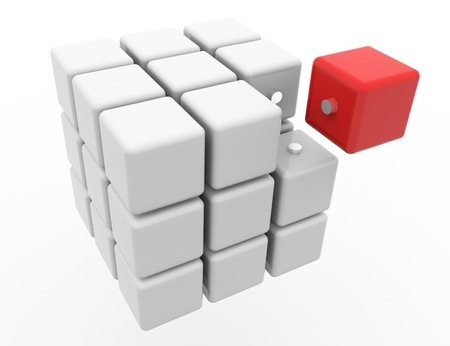 specular: Cube 3D on a white background. Isolated