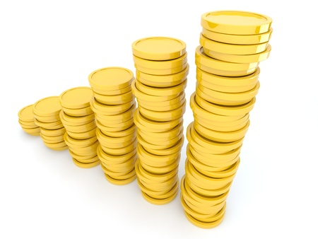 Gold coins  3D. Isolated on white background. Growth photo