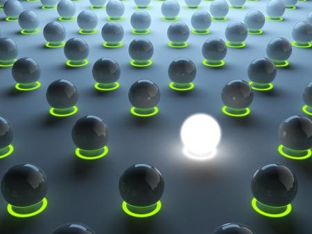 individualism: Luminous sphere. Symbol of individualism