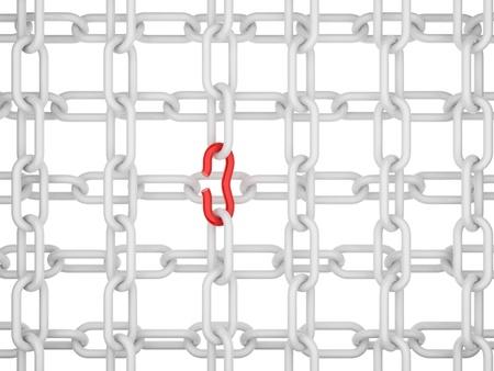break chain: Broken chain. 3d illustration on  white background