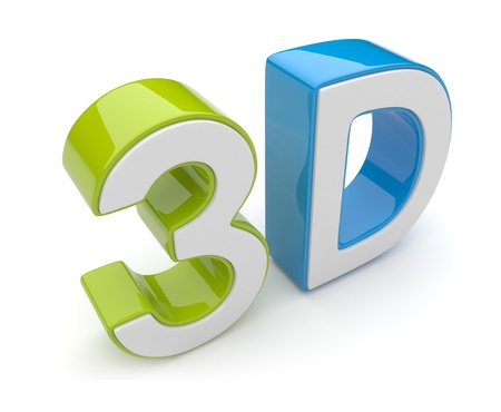 stereoscope: 3D text. Entertainment cinema. Isolated icon